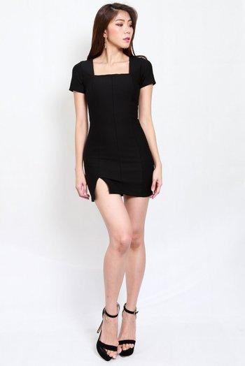 *Premium* Square Neck Slit Mini Dress (Black)