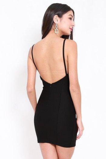 *Premium* Low Back Bodycon Spag Dress (Black)