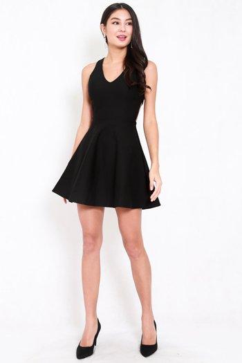 *Premium* Cross Back Skater Dress (Black)