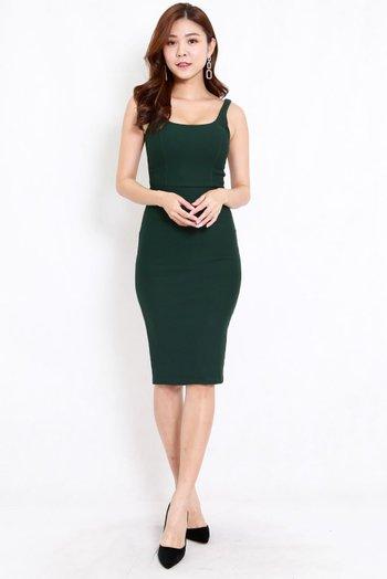 *Premium* Scoop Neck Midi Dress (Forest Green)