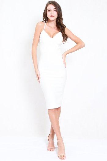 *Premium* V Neck Midi Spag Dress (White)