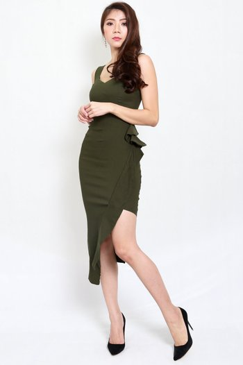 Mystic Asymmetrical Dress (Olive)