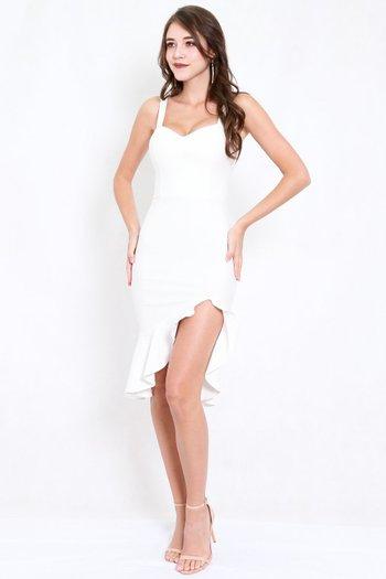 *Premium* Sweetheart Ruffle Slit Dress (White)