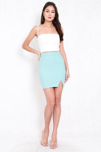 *Premium* Slit Bandage Skirt (Tiffany Blue)