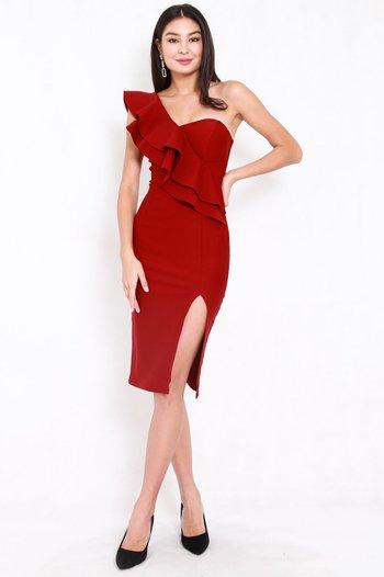 *Premium* Ruffle Toga Slit Midi Dress (Maroon)