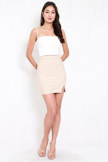 *Premium* Slit Bandage Skirt (Ivory)