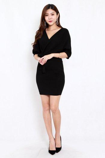 Wanda Wrap Knit Dress (Black)
