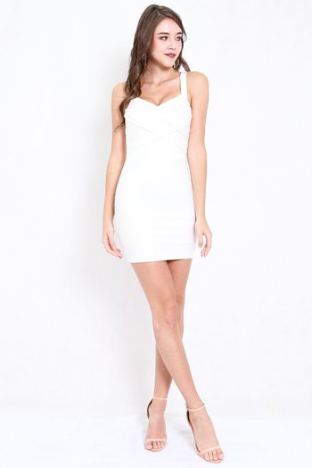 *Premium* Braided Bodycon Dress (White)