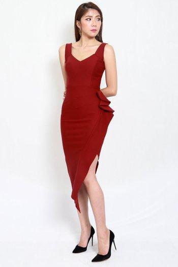 *Premium* Mystic Asymmetrical Dress (Maroon)