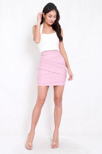 *Premium* Criss Cross Bandage Skirt (Light Pink)