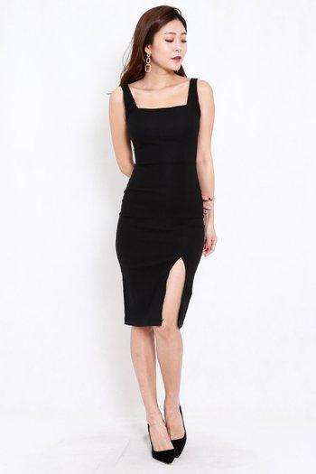 Square Neck Slit Midi Dress (Black)