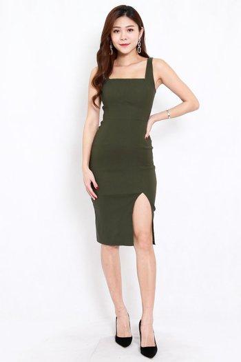 Square Neck Slit Midi Dress (Olive)