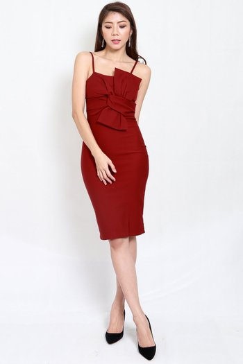 *Premium* Bow Midi Dress (Maroon)