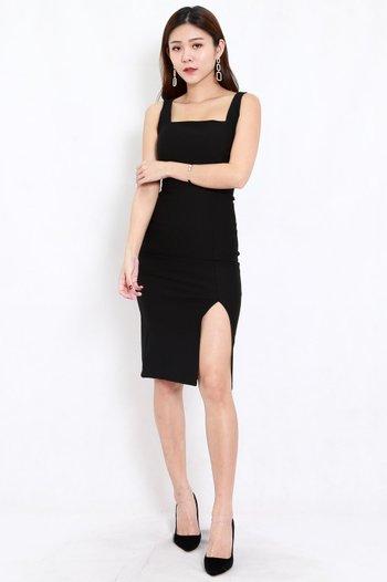 *Premium* Square Neck Slit Midi Dress (Black)