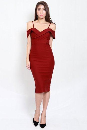 *Premium* Drop Shoulder Midi Dress (Maroon)