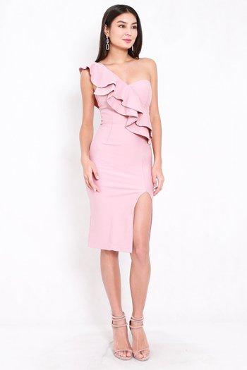 *Premium* Ruffle Toga Slit Midi Dress (Light Pink)