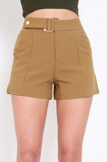 Brooklyn Buckle Shorts (Olive Mustard)