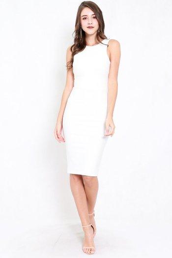 *Premium* Low Back Midi Dress (White)
