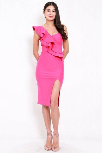 *Premium* Ruffle Toga Slit Midi Dress (Barbie Pink)