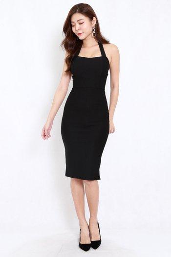 *Premium* Halter Midi Dress (Black)