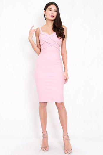 *Premium* Braided Midi Dress (Light Pink)