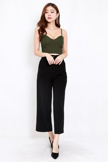 Sweetheart Spag Top (Olive)