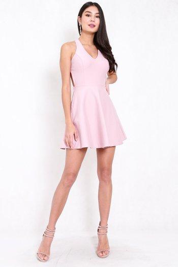 *Premium* Cross Back Skater Dress (Light Pink)