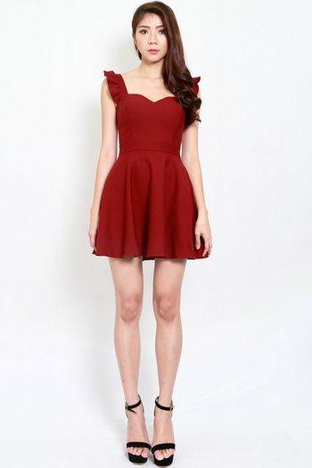 *Premium* Ruffle Sleeve Skater Dress (Maroon)