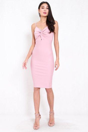 *Premium* Twist Knot Midi Dress (Light Pink)