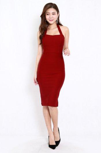*Premium* Halter Midi Dress (Maroon)