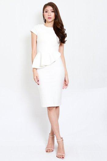 *Premium* Peplum Sleeved Midi Dress (White)