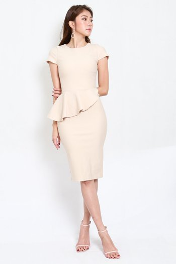 *Premium* Peplum Sleeved Midi Dress (Ivory)