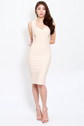 *Premium* Monti Sweetheart Midi Dress (Ivory)