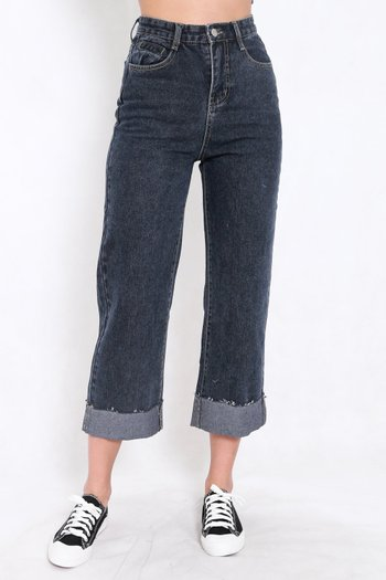 Cuffed Mom Jeans (Dark)