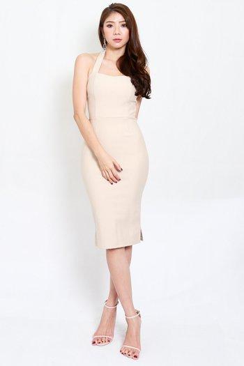 *Premium* Halter Midi Dress (Ivory)