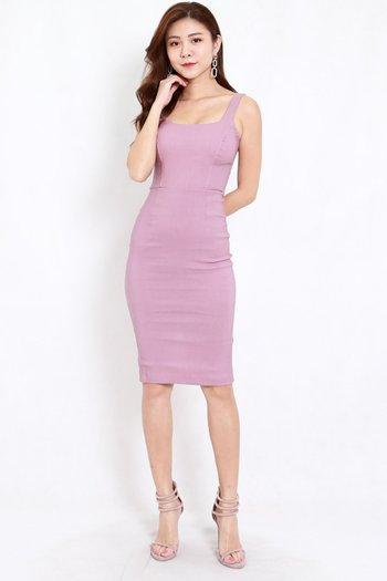 Scoop Neck Midi dress (Lavender)