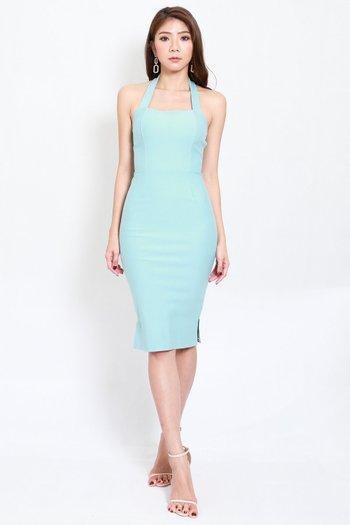 *Premium* Halter Midi Dress (Tiffany Blue)