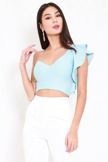 *Premium* Candice Ruffle Top (Tiffany Blue)