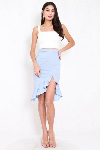 Ruffle Slit Midi Skirt (Baby Blue)