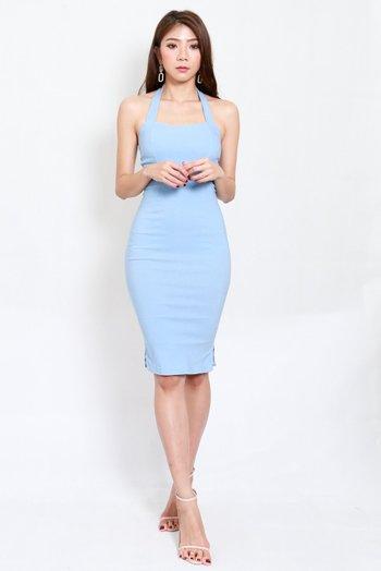 Halter Midi Dress (Baby Blue)