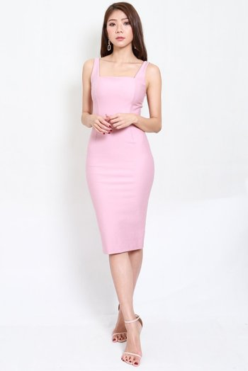 *Premium* Square Neck Midi Dress w/o Slit (Light Pink)