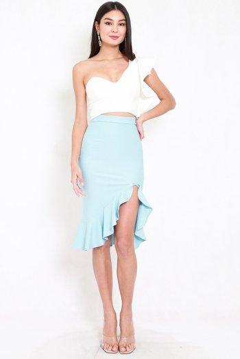 *Premium* Ruffle Slit Midi Skirt (Tiffany Blue)