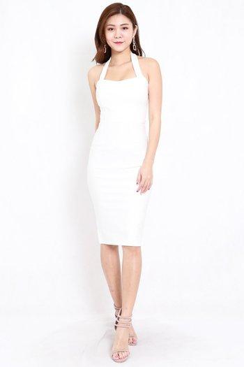 *Premium* Halter Midi Dress (White)