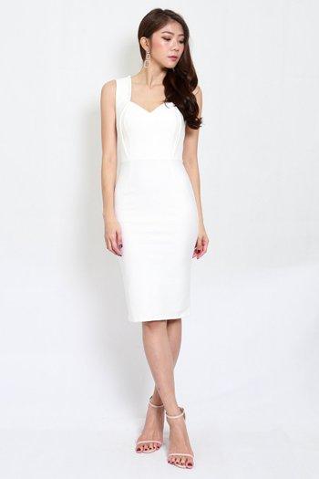 *Premium* Monti Sweetheart Midi Dress (White)