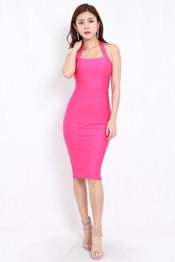 *Premium* Halter Midi Dress (Barbie Pink)