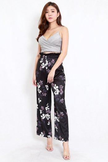 Floral Ruffle High Waist Pants