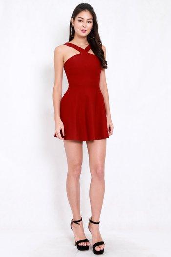 *Premium* Roselle Skater Dress (Maroon)