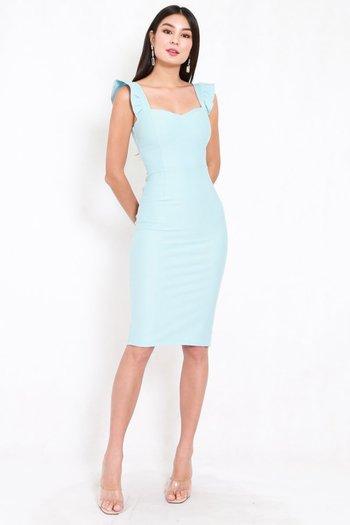 *Premium* Ruffle Sleeve Midi Dress (Tiffany Blue)