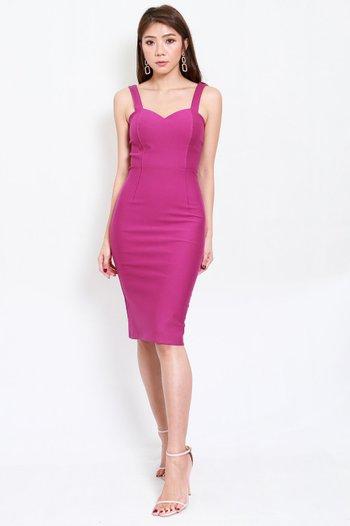 *Premium* Classic Sweetheart Midi Dress (Magenta)