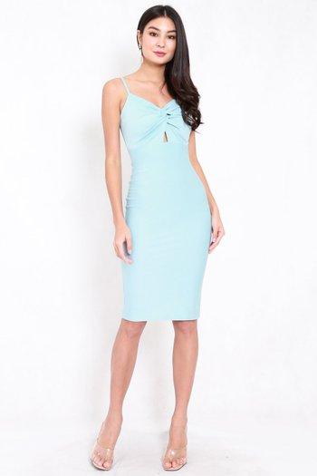 *Premium* Twist Knot Midi Dress (Tiffany Blue)